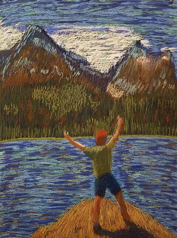 pastel of man along river looking at mountains