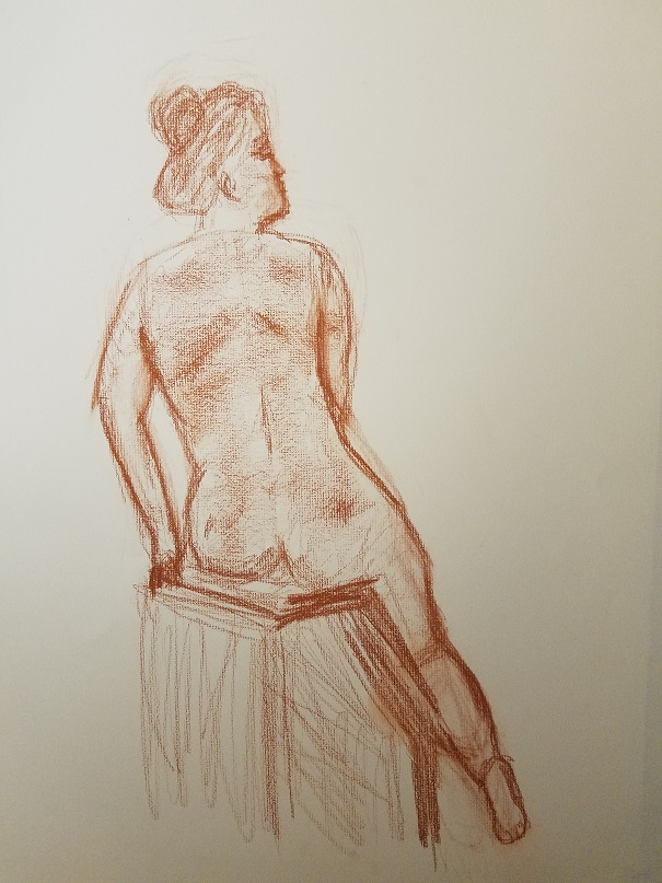 brown pastle drawing of seated nude female from back