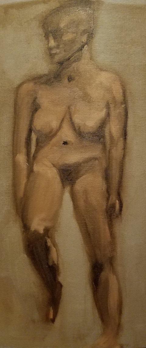 earth tone painting of female nude